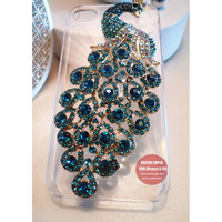 Blue peacock phone cover Transparent phone case for iPhone4/4S or iPhone 5 cover or iPod touch 5