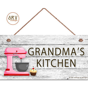 "Grandma's Kitchen Sign, Pink Mixer and Cupcake Wall Art, Gift For Grandma, Weatherproof, 5"" x 10"" Sign, Made To Order"