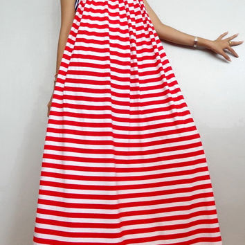 Women Maxi Spaghetti Long Dress ,Casual Gypsy Bohemian Dress , Striped Red White In Cotton Blend (Dress*2).