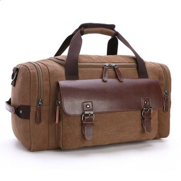 Vintage Canvas&Leather Travel Tote Luggage Bag Weekend bag Shoulder handbag Large Capacity