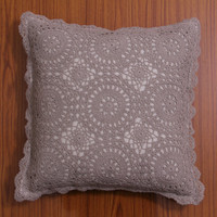HANDMADE CROCHET Cushion Cover, Pillow case, Decorative Throw Pillow, Home Decor - White and Natural Color, Chakra Series