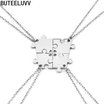 New 4 Pcs set Silver Plated Geometric Interlocking Jigsaw Puzzle Pendants Necklace Family Necklace Best Friend Gift NL530