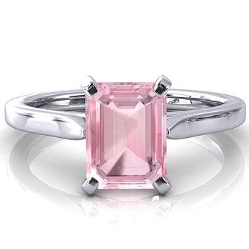 Darci Emerald Pink Sapphire 4 Prong Cathedral Solitaire Engagement Ring