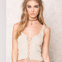 Taupe Lace Up Ribbed Crop Top