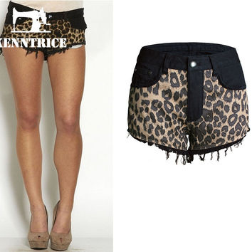 Women Denim Shorts Summer Shorts Simple Wide Ripped Tassel Leopard Girl Black Jeans For Female