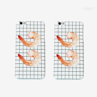 Square Grid Shrimps iPhone Case