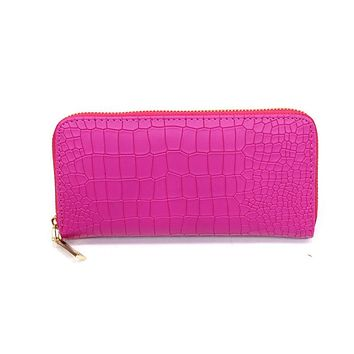 New 2016 Women Purses Vintage Alligator Wallet Zipper Clutch Bag Fashion Designer Female Leather Wallets Famous Brand Purse