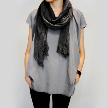 Long Summer Accessories Hand Dyed Cotton Acid Washed Black Scarf