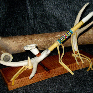 Deer Antler Pipe & Stand With Peyote Stitch Beadwork