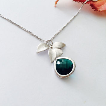 Opal glass Leaf Charm Pedant Necklace – Wedding jewelry- Bridesmaid gifts