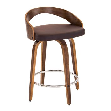 Grotto Mid-Century Modern Counter Stool with Walnut Wood and Brown PU Leather