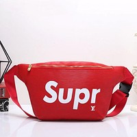 LV X Supreme Fashion Classic Shopping Bag Leather Purse Waist Bag Single-Shoulder Bag Crossbody Red I