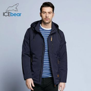 ICEbear Pocket Zipper Design Men Jacket Spring New Arrival Casual Fashion Parka Solid Thin Cotton Coat 17MC010D