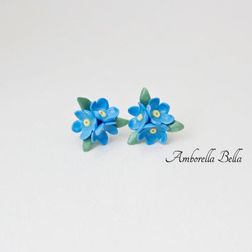 Forget Me Not Stud Earrings - Air Dry Clay Jewellery - Silver Nickel and Lead Free - Floral Earrings - Floral Jewellery