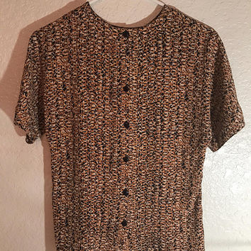 Linda Allard for Ellen Tracy Animal print silk blouse with button down back, size extra small
