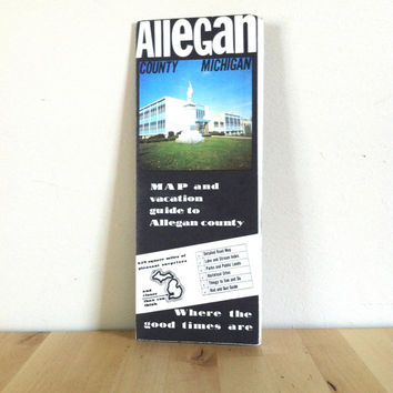 Map and Vacation Guide to Allegan County Michigan, Retro Paper Ephemera {1978} Vintage Map