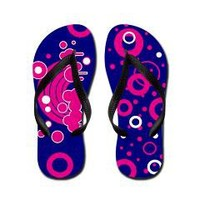 Pink Rainbow and Circles Flip Flops> Fancy Feet