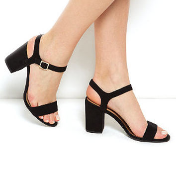 Black Ankle Strap Block Heel Sandals