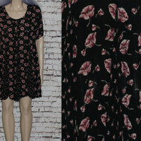 90s Smock Dress Black Floral Mini Short Baby Doll Tent Oversize Baby doll Pink Hipster Grunge Festival XS S Rayon Boho