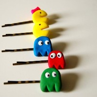 Pacman bobby pins  Set of 5 by inpaperclouds on Etsy
