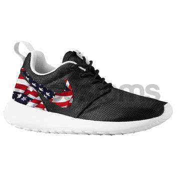 Nike Roshe Run Black White American Flag Pride Custom Kids Youth Grade School