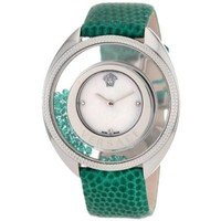 Versace Women's 86Q961MD497 S455 Destiny Precious Genuine Lizard Mother-Of-Pearl Diamond 70-Emerald Watch - designer shoes, handbags, jewelry, watches, and fashion accessories | endless.com