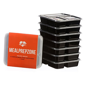 Meal Prep Zone 3 Compartment Food Storage Containers with Lids for Portion Control, Microwave, Dishwasher Safe, Bento Lunch Box, Square Style, Set of 7