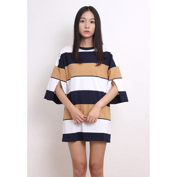 Bold Stripe Jersey Mini Dress (BTDS03077-MIX)