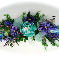 Silk Floral Swag on Artificial Boxwood Base with Teal Hydrangea  and Purple Clematis Flowers