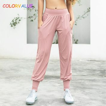 Colorvalue Summer Thin Styles Sport Gym Pants Women Loose Fit Solid Running Fitness Sweatpants Elastic Jogger Pants with Pocket