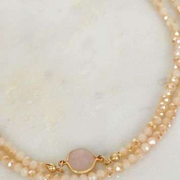 Sparkle & Stone Beaded Choker Taupe