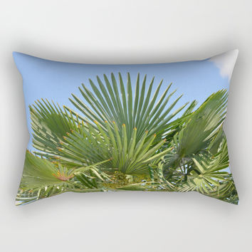 Palm tree and sky Rectangular Pillow by ArtGenerations