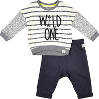 River Island Mini boys wild one sweatshirt and jogger set