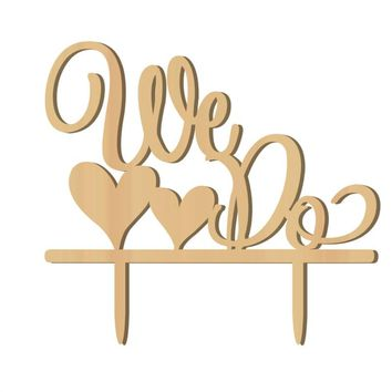 "Rustic Vintage DIY Cake Topper "" We Do "" Wood  Wedding Cake Decorations"