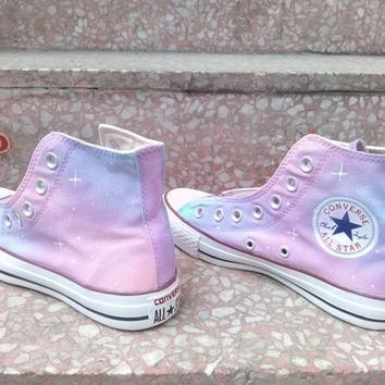 Pink Galaxy Converse shoes Custom Converse Galaxy Converse Sneakers Hand-Painted On C