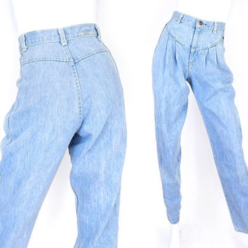 "Vintage 80s 90s High Waisted Pleated Mom Jeans - Size 4 5 - Women's Light Blue Stone Washed Tapered Baggy Denim Trousers -  26"" Waist"