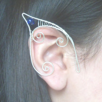 Silver Plated Handmade Wire Wrapped Elf Ear Cuffs With Cobalt Blue Faceted Glass Beads. Elven Ears, LARP, Mermaid Ear Cuffs, Water Sprite