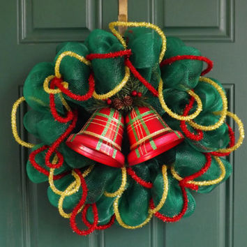 Christmas Green Deco Mesh Wreath with Red Plaid Bells and Deco Flex Tubing