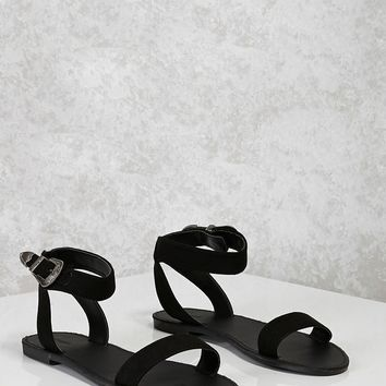 Faux Suede Etched Sandals