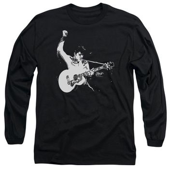Elvis Presley Long Sleeve T-Shirt Black and White Photo Black Tee