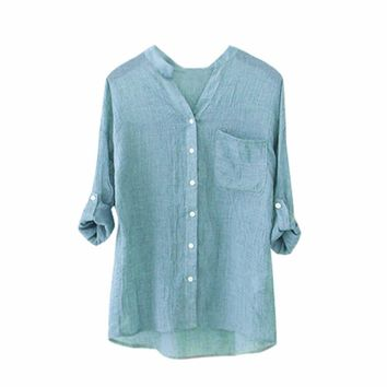 High Recommend  Women Cotton Solid Long Sleeve Shirt Casual Loose Blouse Button Down Tops womens clothing blusas femininas