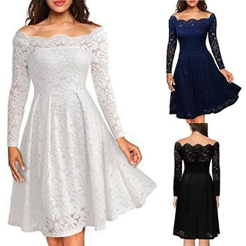 Women Sexy Off Shoulder Lace Hollow Out Eveing Party Mini Dress Elegant Princess Bridesmaid Wedding Dress