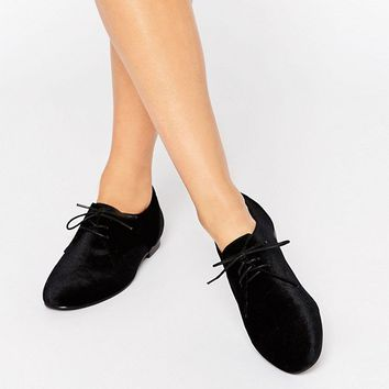 ASOS MISSION Velvet Lace Up Flat Shoes at asos.com