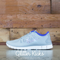 Women's Nike Free 5.0+ Running Shoes By Glitter Kicks - Hand Customized With Swarovski Crystal Rhinestones - Gray/Purple