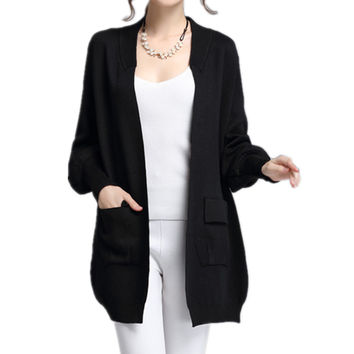 Women Front Pockets Baggy Knitted Sweater Cardigan Outwear