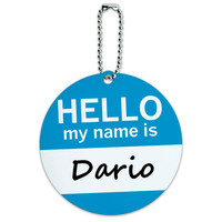 Dario Hello My Name Is Round ID Card Luggage Tag