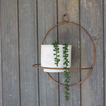 Set of 2 White Wash Clay Pots With Copper Finish Round Wall Sconce
