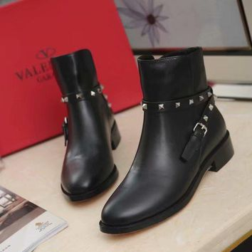 VALENTINO Trending Women Black Leather Zipper Ankle Boots Shoes Best Quality