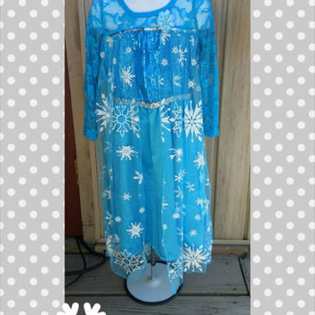 Elsa Frozen Dress Set - Costume -  Ready To Ship - Queen Elsa -  Cape - Birthday Snowflake - Size 3-4 - Size 5-6 - Christmas Gift - Headband
