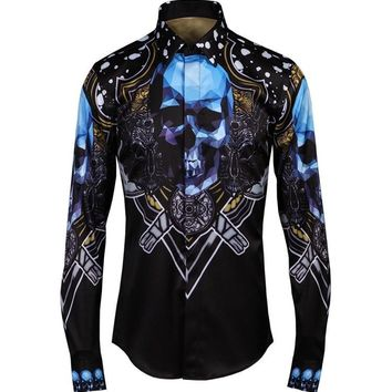 Casual Shirts Long Sleeve High Quality 👨💀 Skull Pattern